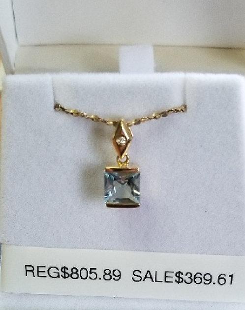Diamond and Aquamarine Pendant
