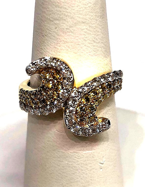 Yellow Gold Colored Diamonds Wave Dinner Ring