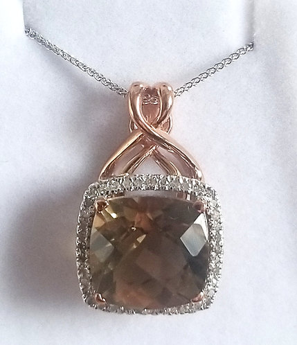 Diamond and Smokey Quartz Pendant