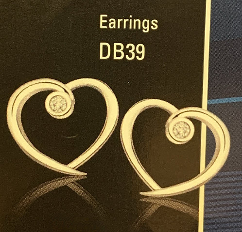 White Gold Diamond Heart Stud Earrings