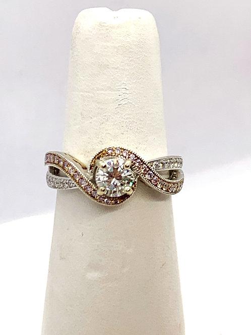 WG RBC Diamond with Pink diamond accent Ring