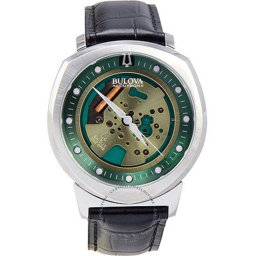 Bulova Accutron II Mens Black Leather Quartz Watch