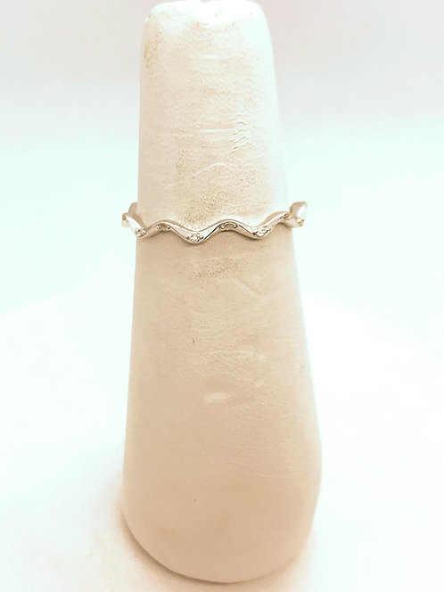 White Gold Swirl with Diamond Accent Ring