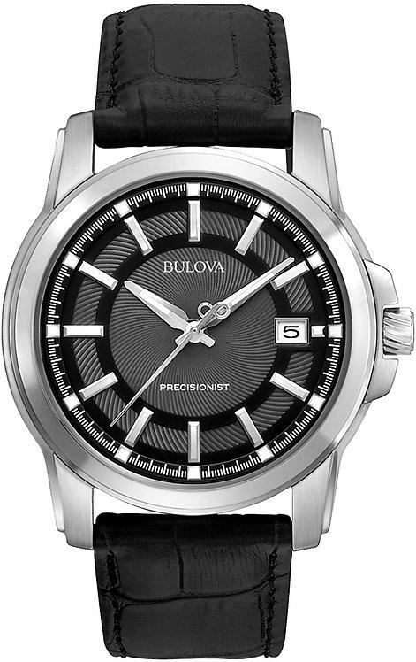 Bulova Men's Precisionist Grey Dial Black Leather Strap Watch