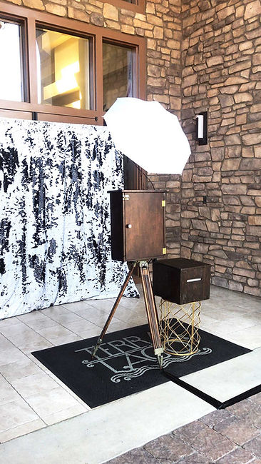 vintage open photo booth with sequin backdrop