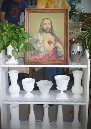 Jesus with Milk Glass
