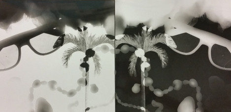Mardi Gras themed Photogram Positive and
