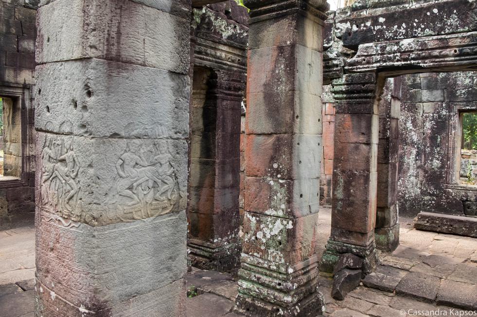 Angkor Columns with Lichen