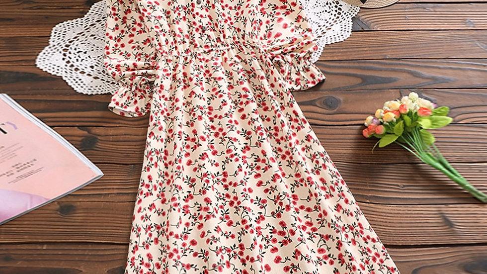 Mori Girl Sweet Dress Korean Fashion Autumn Women Floral Print Long Dresses
