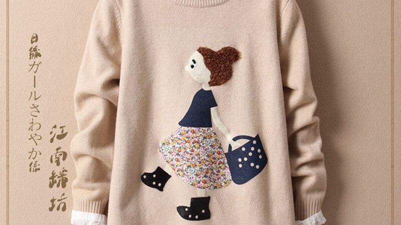 Japanese Style Cartoon Girl Pattern Loose O-Neck Long-Sleeved Sweater