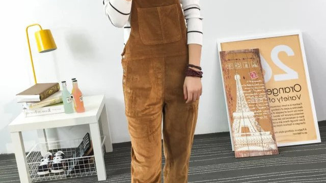 Slim-Type Corduroy Overalls Female  Solid Color Pants Cute Casual Jumpsuits