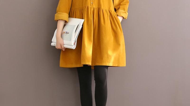 High Quality Autumn Winter Women Corduroy Dress Long Sleeve Mori Girl Vintage