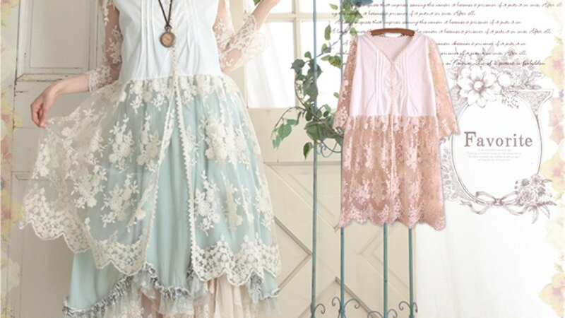 Sweet Spring Summer Mori Girl Sundress Lace Flower Patchwork Dress Women Dresses
