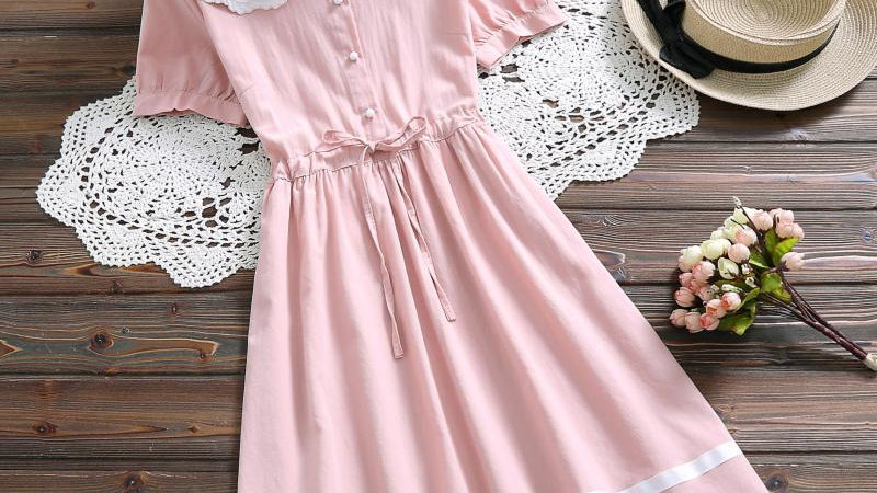 Japanese  Sweet  Dress Blue Pink Women  Floral Embroidery Cotton Linen