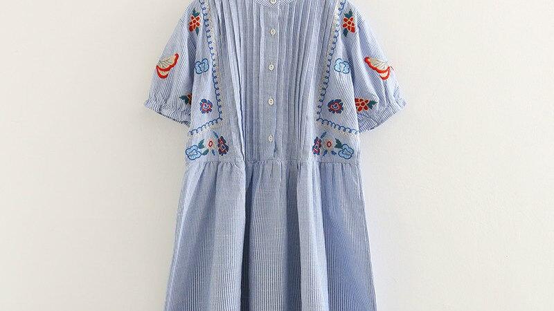 Denim Dress Autumn Bohemian Short Sleeve Blue White Cartoon Embroidery