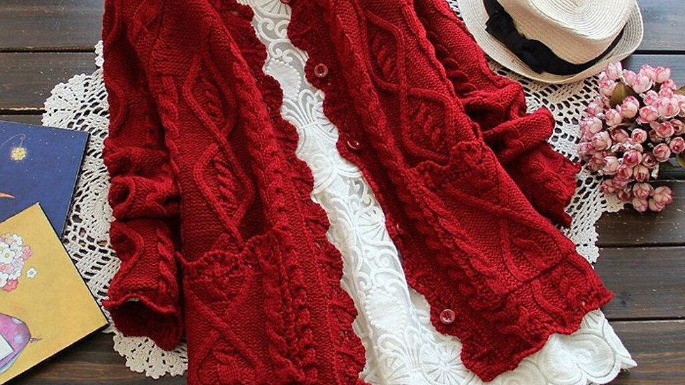 Women Cardigan Solid Color Sweater Knitted Cotton  Fashion Girl's Coat Sweater