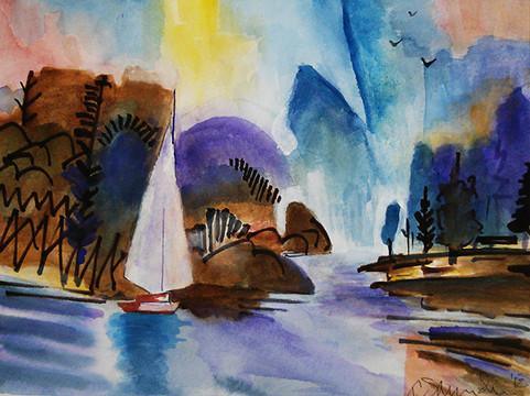 Tom Sanders, water color