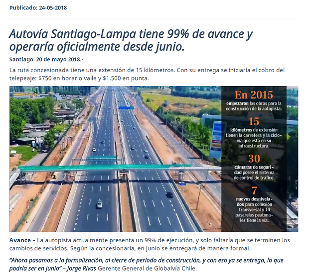 Autopista Santiago Lampa Iniciara Cobros Con Tag A Mediados De Julio