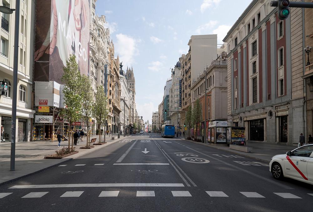 La Gran Vía de Madrid el pasado 15 de marzo. Fotografía: Nemo