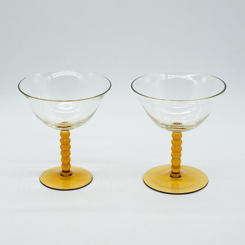 Pair of Vintage Mid-Century Amber Stem Coupe Glasses