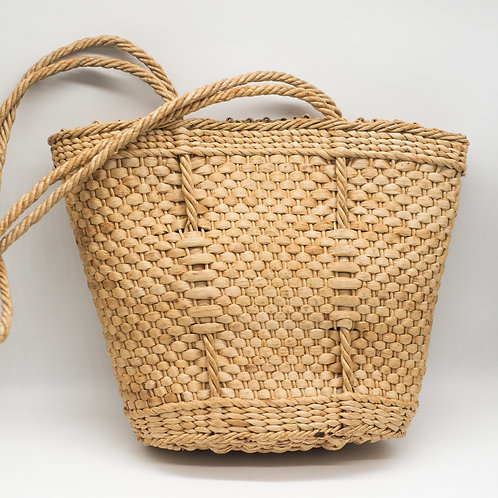 Vintage Woven Wicker Summer Shopping Tote Bag