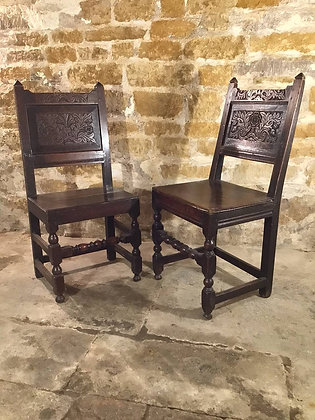 Pair of Early English Chairs 17th Century