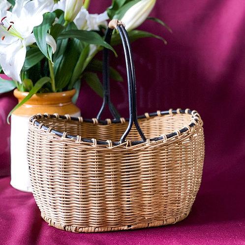Vintage Wicker & Cast Metal Shopping Basket