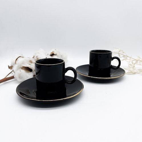 Pair of Vintage Hornsea X Nescafe Black & Gold Espresso Mug & Saucer Set