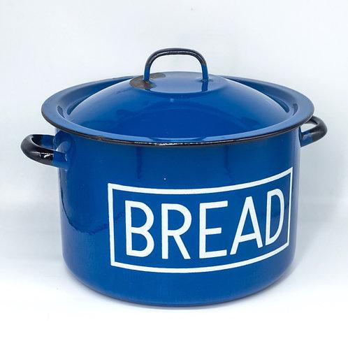 Large Vintage Blue & White Enamel Bread Bin By Silesia Rybnik