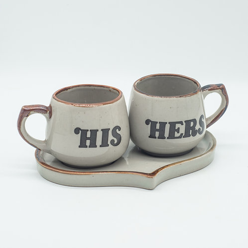 Vintage 'His & Her's Mugs Set on Love Heart Shaped Saucer