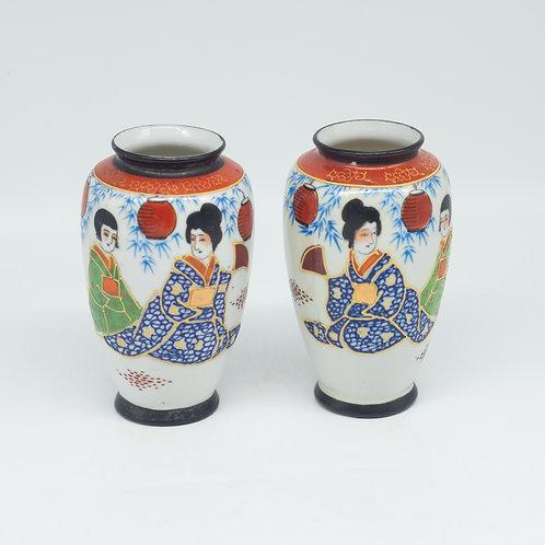 Pair of Vintage Hand Painted Japanese Vases