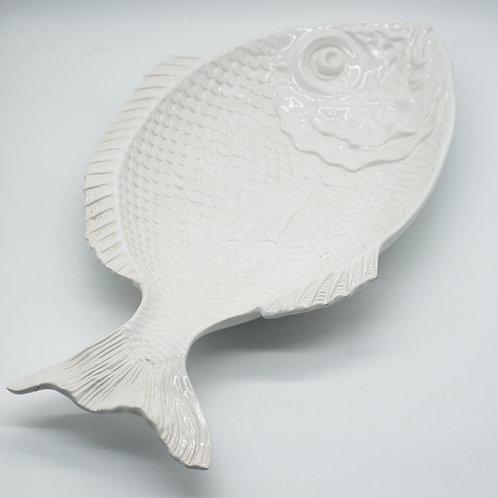 Large Portuguese Retro White Fish Plater Plate (52cm)