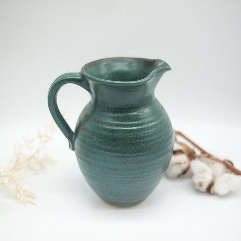 Large Vintage Teal Studio Pottery Jug Vase (1978)