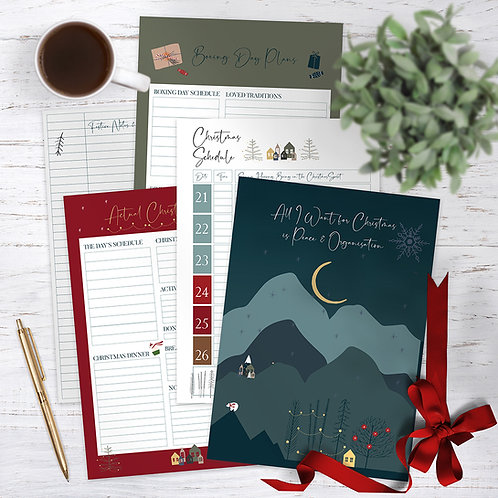 Christmas Planning Booklet with New Year Resolution log