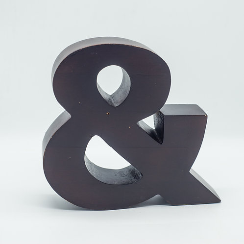 Large Dark Wooden Ampersand by Ben De Lisi (Made in India)