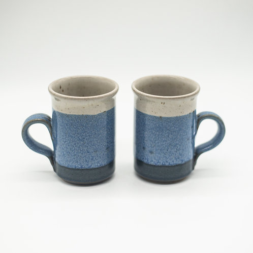 Pair of Blue & Neutral Glazed Pottery Mugs