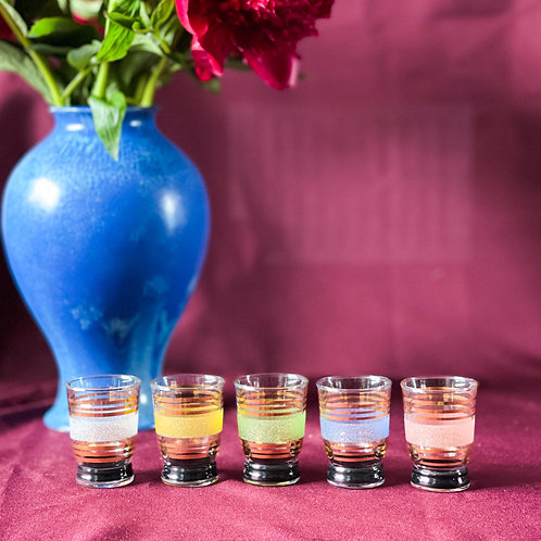 Set of 5 Vintage French Sugar Frosted Rainbow Shot Glasses (Circa 1950)