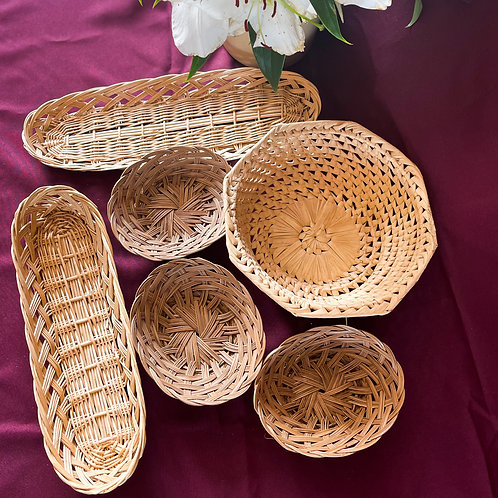 Set of 6 Vintage Wicker & Woven Baskets (or Decorative Wall Baskets Bundle)