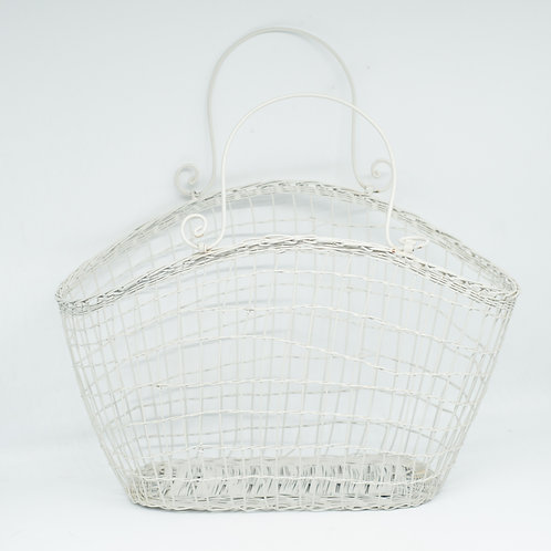 Vintage French White Wire Shopping Basket