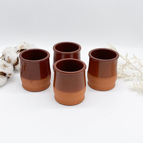 Set of 4 Cermer Terracotta Ceramic Containers Pots