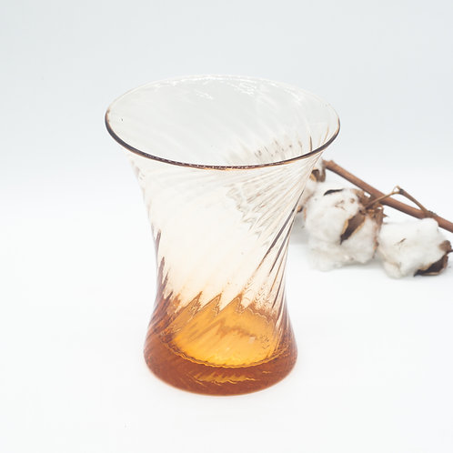 Vintage Ribbed Amber Ombré Fluted Glass Vase