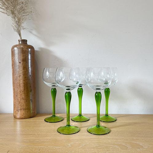 Set of 5 Vintage Mid-Century Green Stem Aperitif Glasses