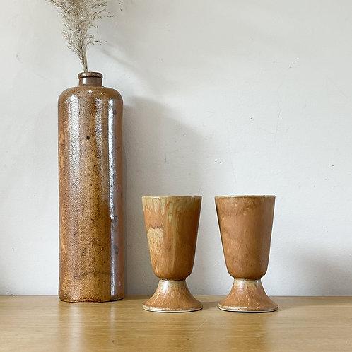 Pair of Handmade Ceramic Goblet Glasses