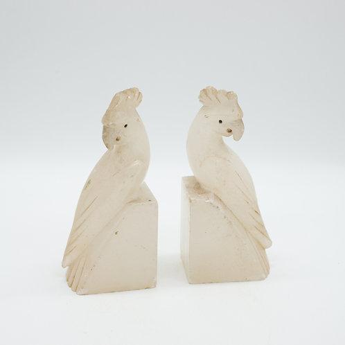 Vintage Polished Carved Quartz Cockatoo Parrot Bookends