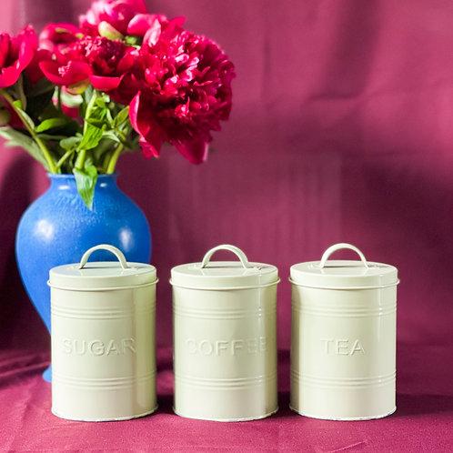 Set of 3 Large Pastel Green Sugar, Coffee & Tea Tin Storage Jars