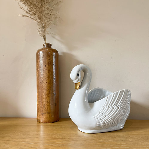 Large Vintage White Swan Planter with Gold Bill
