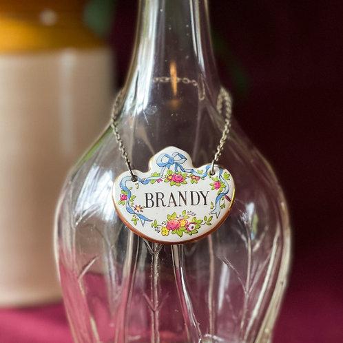 Vintage Bone China 'Brandy' Decanter Label