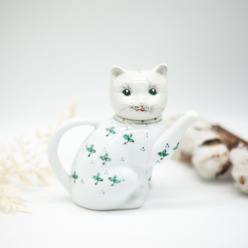 Vintage Green & White Chinese Cat Teapot