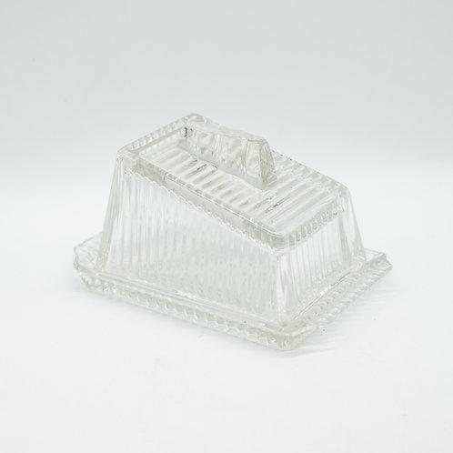 Vintage Art Deco Glass Butter Dish