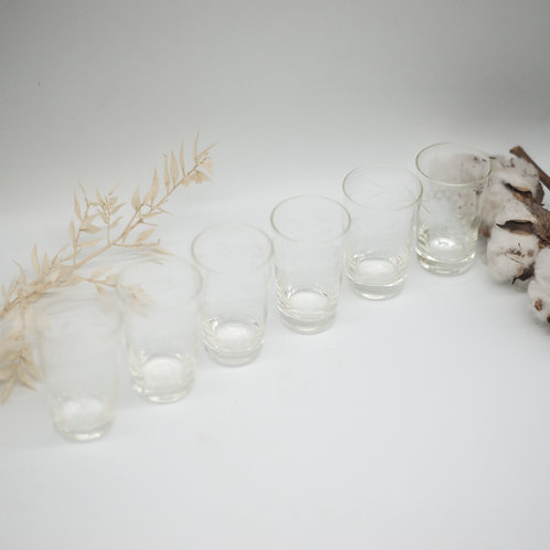 Set of 6 Vintage Delicate Pressed Glass Shot Glasses with Grape Vine Detail
